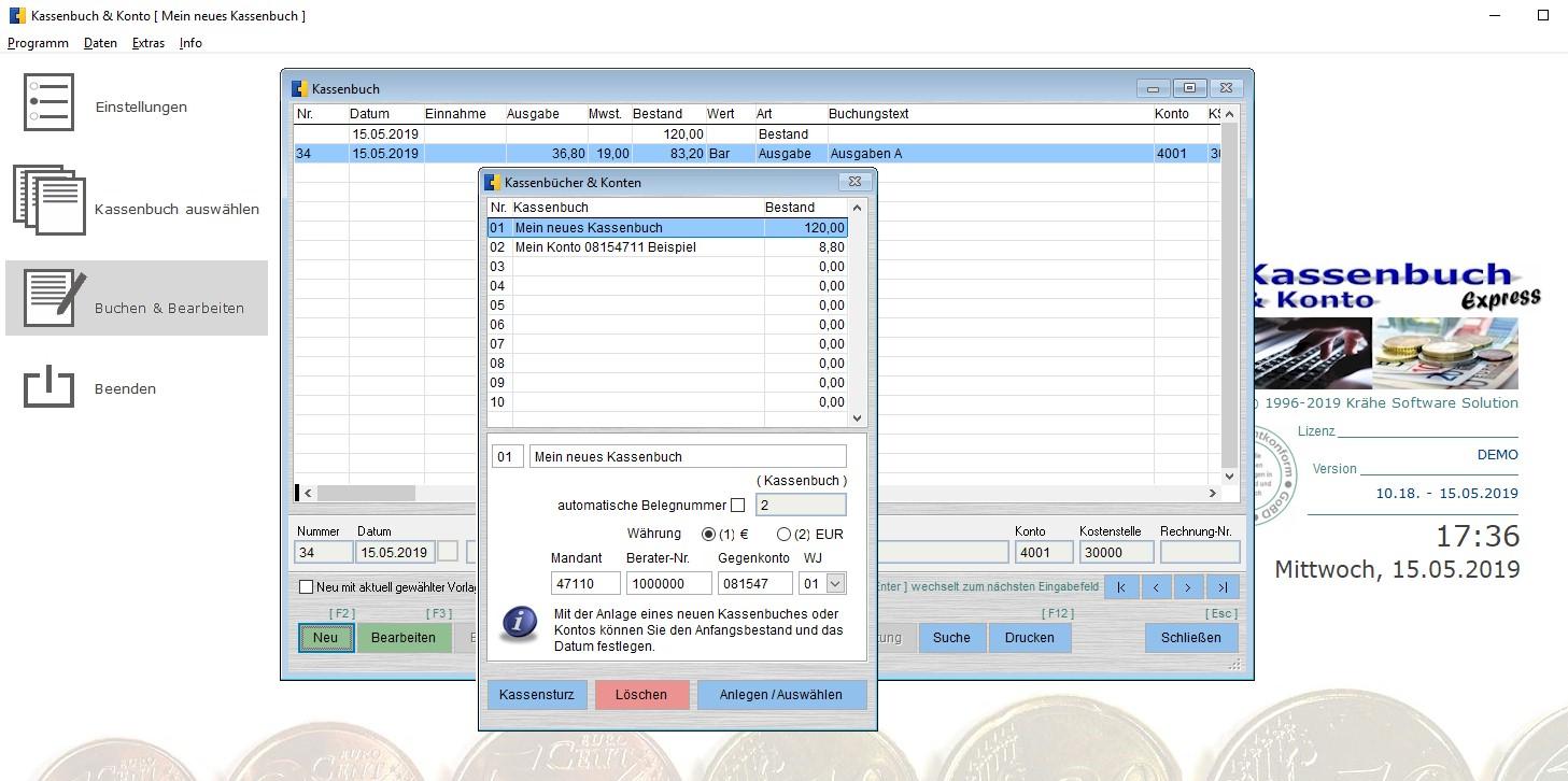 Screenshot vom Programm: Kassenbuch & Konto